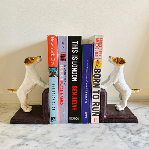 Cast Iron Antiqued Pair of Terrier Bookends - mylesfromhome.co.uk