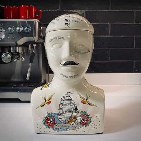 Tattooed Phrenology Head Storage Jars - mylesfromhome.co.uk