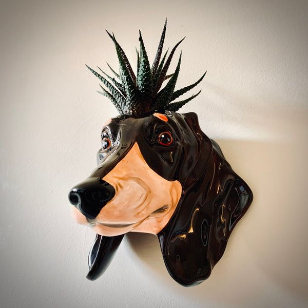 Ceramic Dachshund Head Wall Sconce Vase - mylesfromhome.co.uk