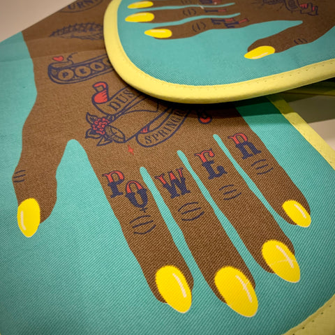 'Grill Power' Oven Gloves by Stuart Gardiner (Dark Skin Tone) - mylesfromhome.co.uk