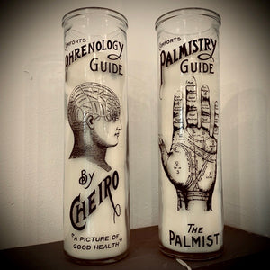 Phrenology and Palmistry Tall Candle Pot - mylesfromhome.co.uk