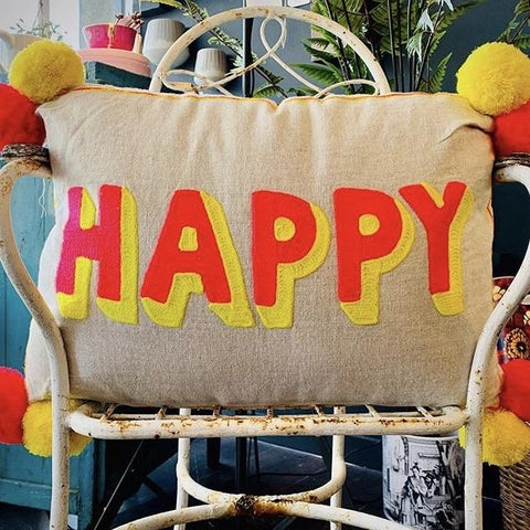 Embroidered Cushion - HAPPY (Coral & Yellow) - mylesfromhome.co.uk