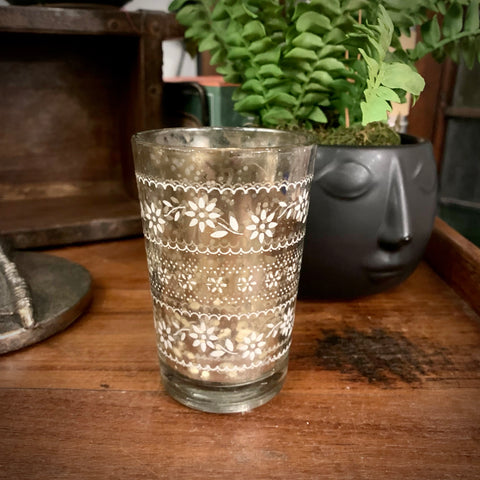 Antique Glass Silver Tea Light Holder - mylesfromhome.co.uk