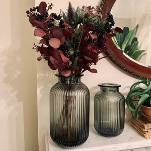 Smoke Glass Ribbed Vase - Small - mylesfromhome.co.uk