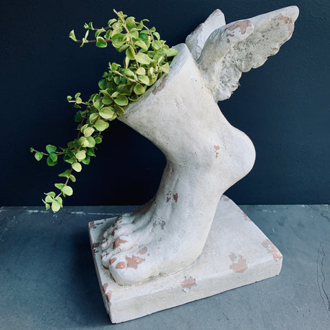 Rustic Stone Effect Winged Foot Planter - mylesfromhome.co.uk