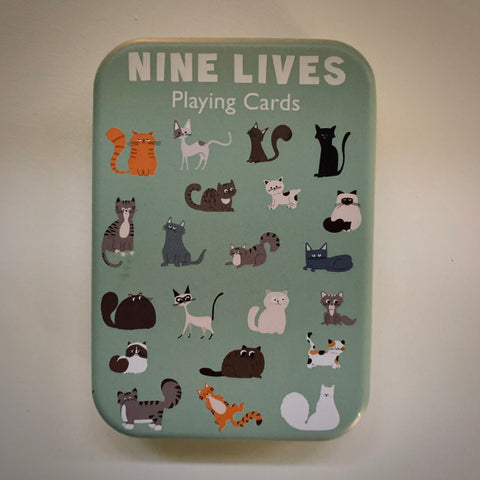 'Nine Lives' Playing Cards in a Tin - mylesfromhome.co.uk