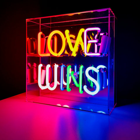 Neon Acrylic Box - 'Love Wins' - mylesfromhome.co.uk