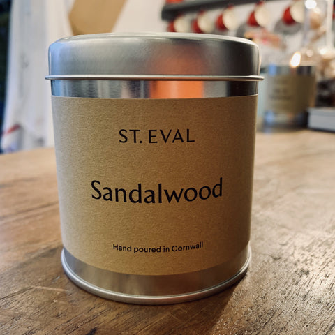St. Eval Scented Candle Tin: Sandalwood - mylesfromhome.co.uk