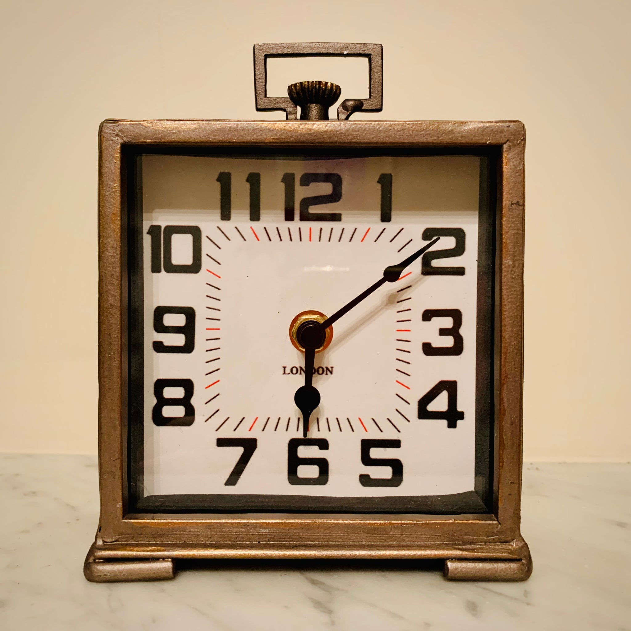 Bronzed Traditional Desk Clock - mylesfromhome.co.uk