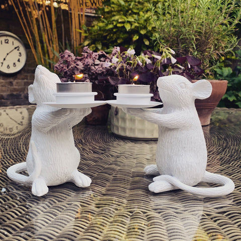 Pair of White Mice Candle Holders - mylesfromhome.co.uk