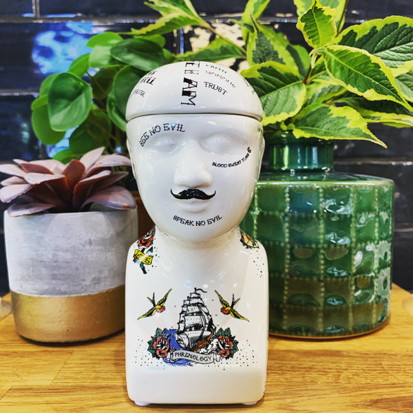 Small Tattooed Phrenology Head Storage Jars - mylesfromhome.co.uk