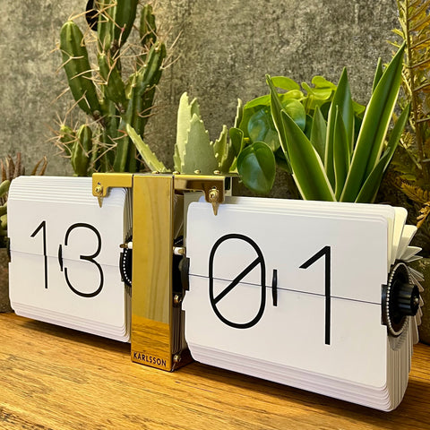 Case-less Flip Clock: White & Brass - mylesfromhome.co.uk