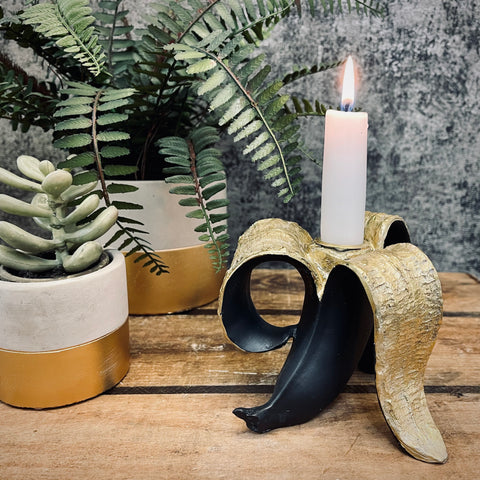 Gold and Black Banana Candle Holder - mylesfromhome.co.uk