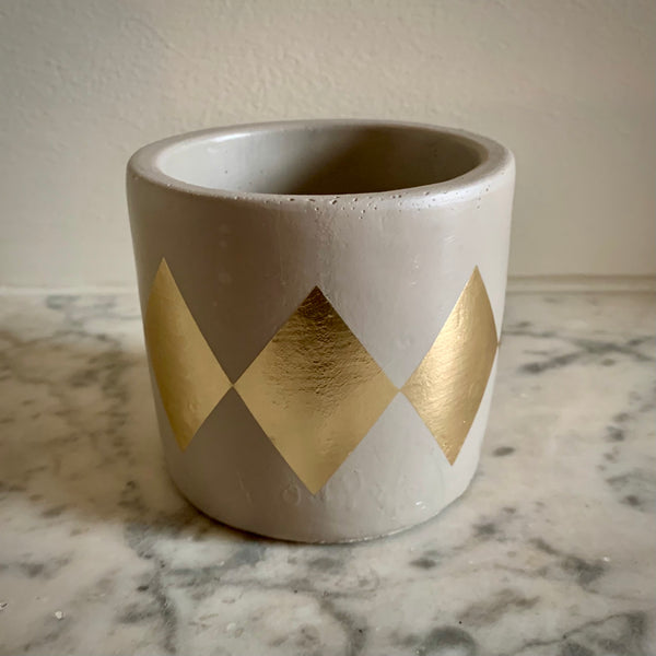 Cement Planter: Small Gold Harlequin - mylesfromhome.co.uk