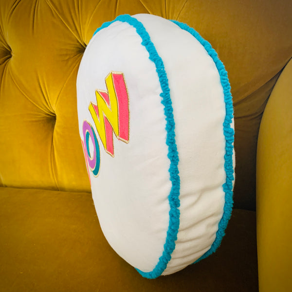 Embroidered Circle Cushion - WOW - mylesfromhome.co.uk