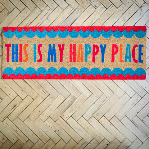 Cheerful Welcome Long Door Mat - This is My Happy Place!