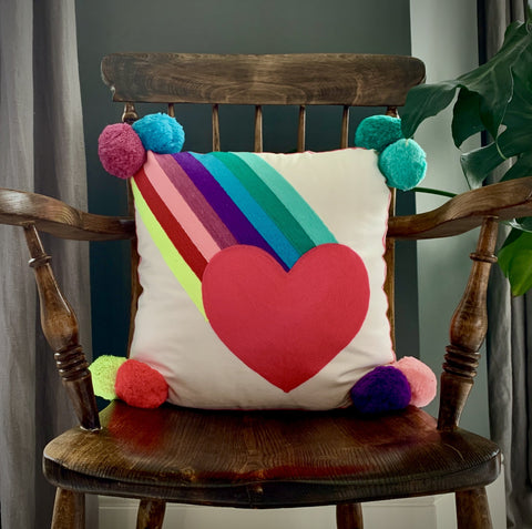 Embroidered Rainbow Burst Cushion - RAINBOW & HEART - mylesfromhome.co.uk