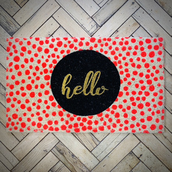 Cheerful Welcome Door Mat - Glittering HELLO - mylesfromhome.co.uk