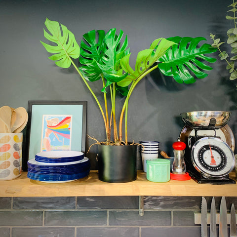 Faux Potted Split Philo Leaf Plant - mylesfromhome.co.uk