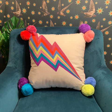 Embroidered Cushion - LIGHTNING BOLT - mylesfromhome.co.uk