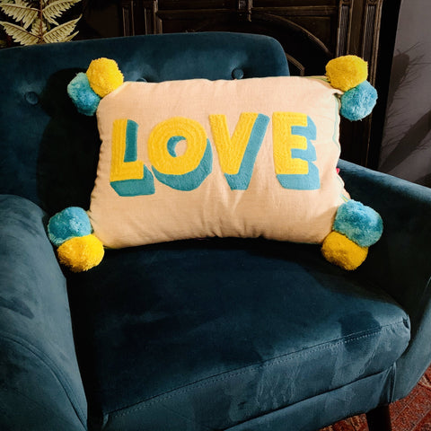 Embroidered Cushion - LOVE (Yellow & Blue) - mylesfromhome.co.uk