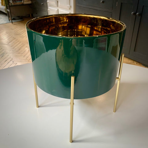 Gold Lined Planter in Blue or Green.