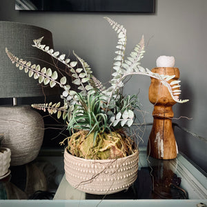 Faux Hanging Moss Ball with Ferns - mylesfromhome.co.uk
