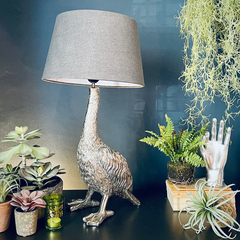 Antiqued Silver Goose Table Lamp - mylesfromhome.co.uk