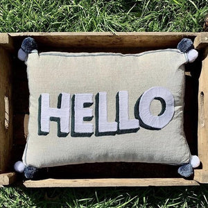 Embroidered Cushion - HELLO (White & Grey) - mylesfromhome.co.uk