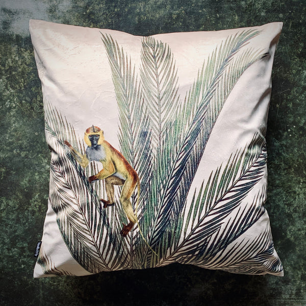 Palm Monkey Velvet Cushion - mylesfromhome.co.uk