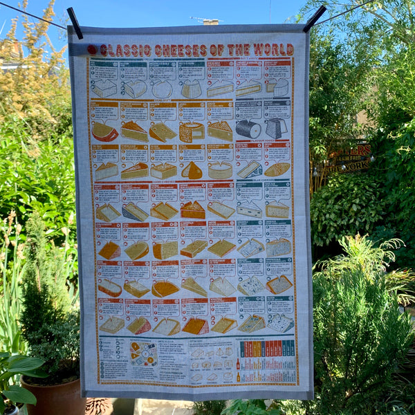 Classic Cheeses Of The World Tea Towel - mylesfromhome.co.uk
