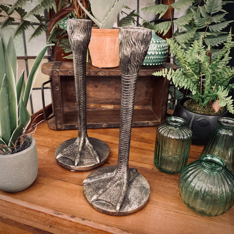 Pair of Antiqued Silver Bird Leg Candlesticks - mylesfromhome.co.uk