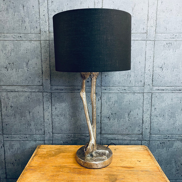 Antiqued Silver Flamingo Leg Table Lamp