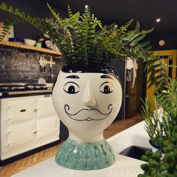 Doodle Man's Face With Moustache Vase - mylesfromhome.co.uk