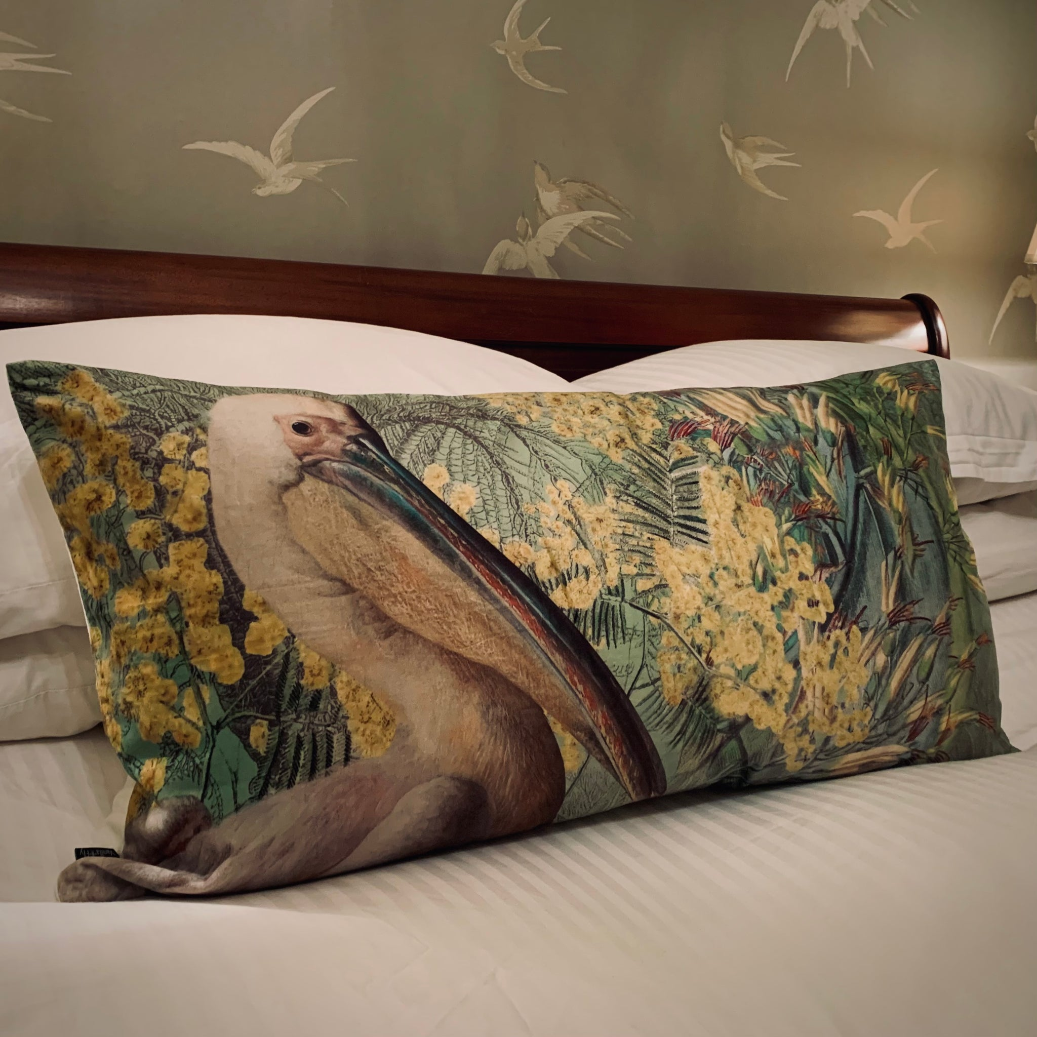 Pelican & Mimosa Velvet Cushion - mylesfromhome.co.uk