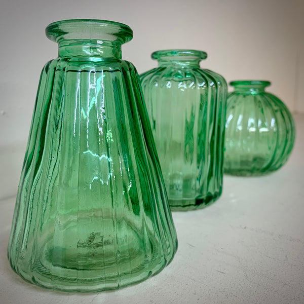 Set of 3 Green Glass Bud Vases - mylesfromhome.co.uk
