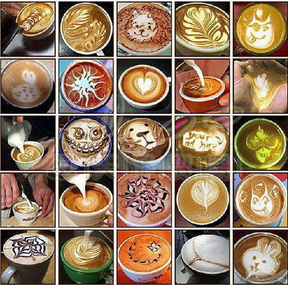 16pcs/set Coffee Latte Cappuccino Hot Chocolate Art Stencils- Free shipping!