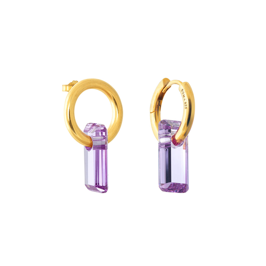 asymmetrical pair of earrings, hoops and stud, gold, big lavender stone, white background.