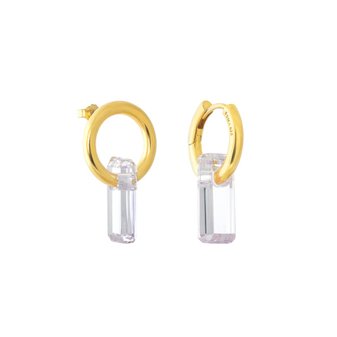 asymmetrical pair of earrings, hoops and stud, gold, big white stone, white background.