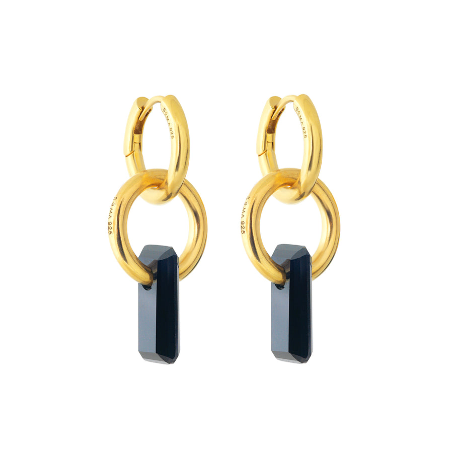 gold earrings, double hoop, hoop trough hoop, large black stone trough hoop, white background.