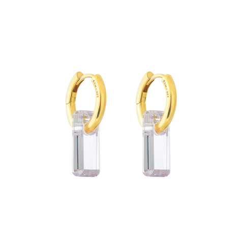 gold, hoop earrings, large white stone, hoop trough stone, white background.