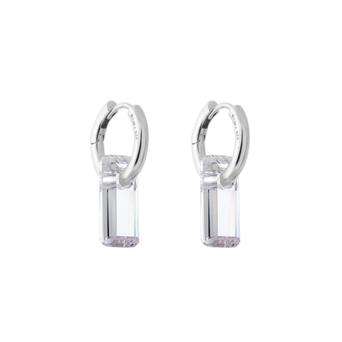 hoop earrings, silver, large white transparent stone, white background.