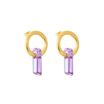 gold, two stud earrings, white background, large lavender stone, hoops trough stones.
