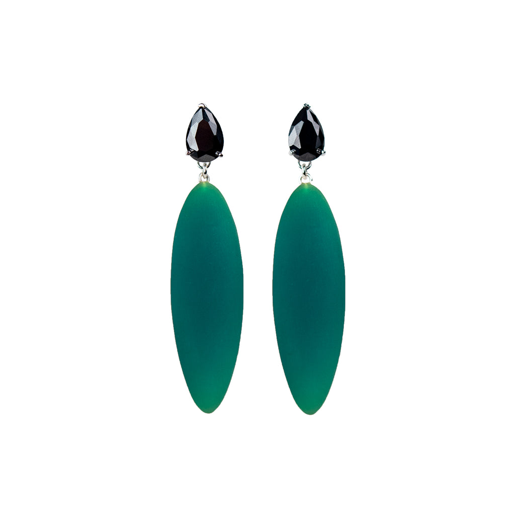 green rubber, large earrings , tear shaped black stone, white background.