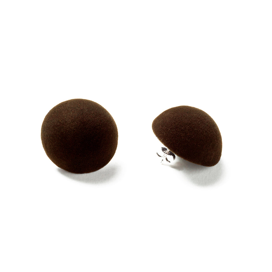 brown velvet velvet , large size,  earring, white background.
