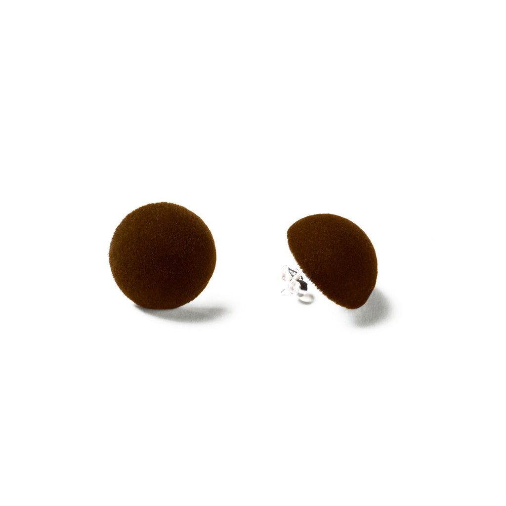 brown velvet , medium size,  earring, white background.