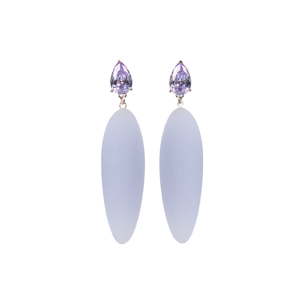 Nymphe earrings with lavender stone and lavender rubber