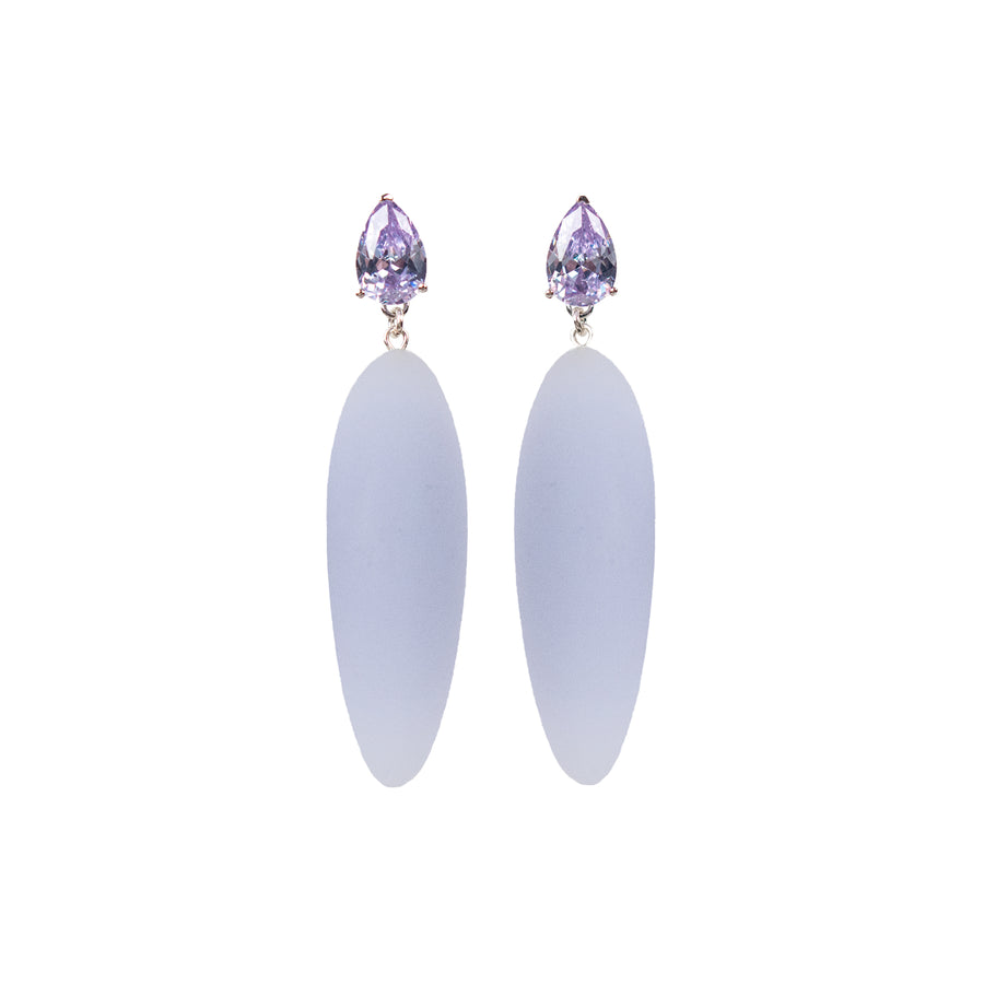 light purple rubber, large earrings , tear shaped lavender stone, white background.
