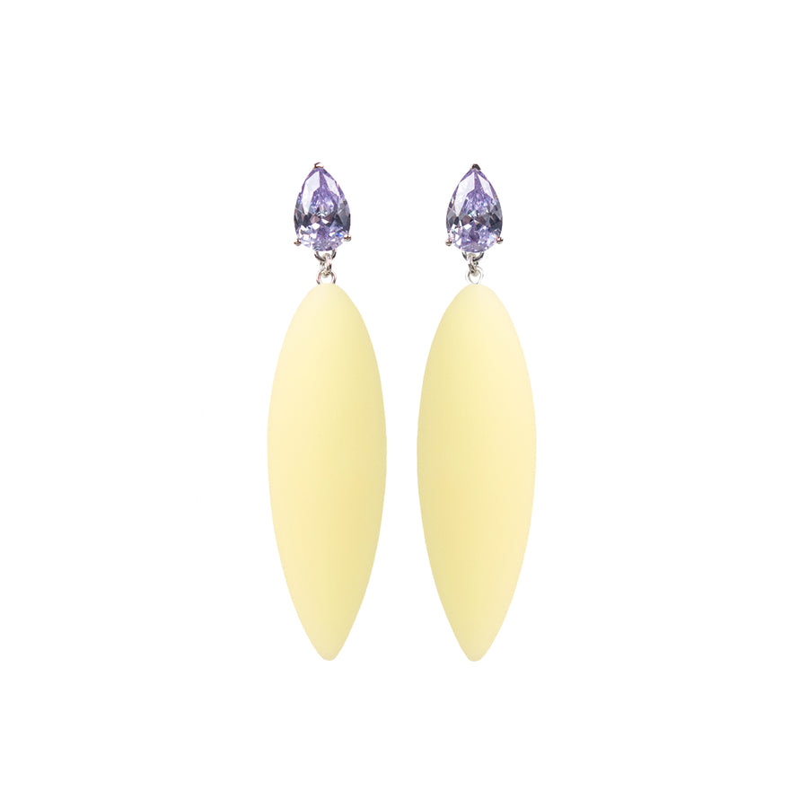 Nymphe earrings with lavender stone and macaron rubber