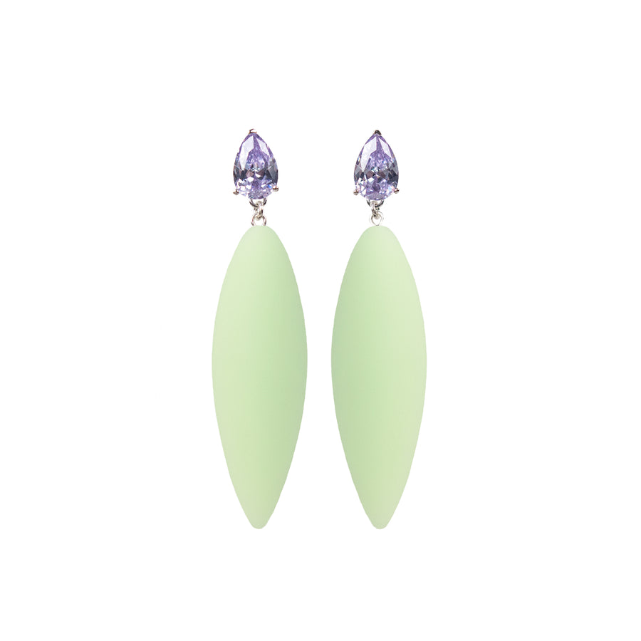 Nymphe earrings with lavender stone and mint rubber